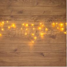 Гирлянда Айсикл (бахрома) светодиодная, 1,8 х 0,5 м, прозрачный провод, 220В, диоды тепло-белые