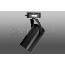 Трековый светодиодный светильник DT-132 (20W, 3000K, однофазный, черный корпус)