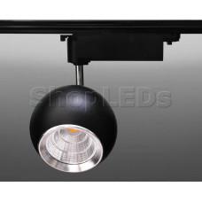 Трековый светодиодный светильник Track-56 (220V, черный корпус, 20W, однофазный) (теплый белый 3000K)